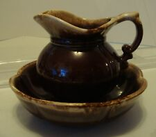 McCOY PITCHER AND BOWL SET BROWN DRIP GLAZE POTTERY  #7528 VINTAGE FREE SHIPPING