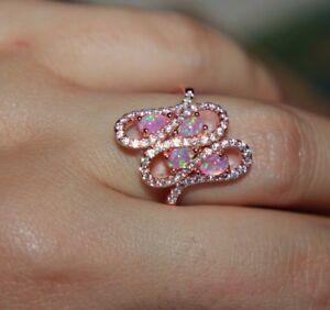 pink fire opal Cz ring gems rose gold filled jewelry engagement band 5.7 7.5 8.5