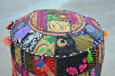 Black Pouf Ottoman Round Indian Ottoman Cover Poof Pouffe Foot Stool Ethnic