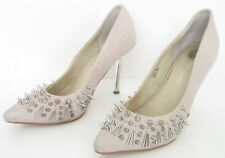 RIVER ISLAND SIZE 5 WOMENS PINK SNAKESKIN SILVER STUDS SLIP ON COURT SHOES HEELS