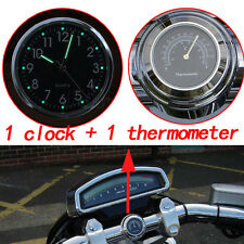 """Night Lights Clock & Thermometer Gauge For 7/8"""" 1"""" Motorcycle Bicycle Handlebar"""