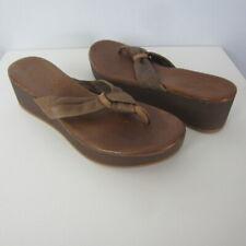 New Miz Mooz Womens 6 Burma Inuovo Brown Leather Platform Wedge Thong Sandals 36