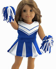"""3 Piece Blue Cheerleader Outfit for 18"""" American Girl Doll Clothes"""