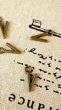 Alphabet letter V charm bronze vintage style jewellery supplies C32