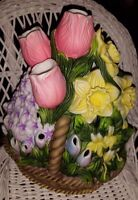 Partylite Retired Floral Bouquet Tealite Holder P7747 Tulips Daffodils Basket