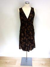 NICOLE FARHI BLACK & BROWN PRINT SILK & COTTON DRESS SIZE 8