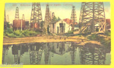 Reflections in a Lake of Oil 1920s Los Angeles CA Early Postcard Great Color Pic