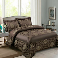 Chocolate Quilted Bedspread / Comforter Throw King Size Bed Set With Pillow Sham