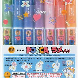 uni Posca Glitter Marker Pc-1ml 7C, Extra Fine Point, 7 Colors Set F/S