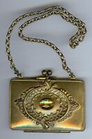 VICTORIAN ERA GOLD TONE YELLOW FACETED GLASS MINI PURSE COMPACT