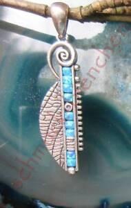 Ω Pendentif Spirale Bleu à Motif Kreissegment Sterling Argent 925