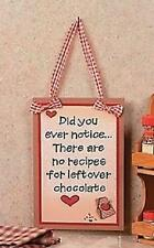 "There's No Recipes for Leftover Chocolate Kitchen Wall Plaque w/ Hanger 11""H"