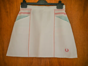 BRAND NEW Vintage white Fred Perry  Tennis Skirt Size 12 MINT CONDITION