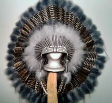 Native American Grey Spirit Eagle War Bonnet Feather Headdress