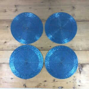 Set Of 4 Brand New Beaded Sparkle Place Mats Table Setting Christmas Wedding Dec