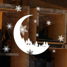 Christmas Decorations Moon snowflake Elk PVC Wall Sticker Shop Window Decals DIY