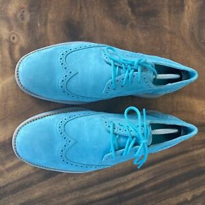 Cole Haan Lunargrand Wingtip Oxford 9.5 M C11096 Blue Suede w/ Shoe Trees