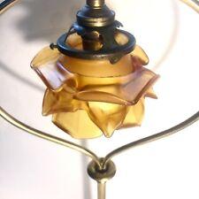 Lampe Art Nouveau Tulipe Pâte De Verre Piétement En Bronze Decor De Vigne