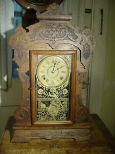 "ANTIQUE RARE SETH THOMAS 8 DAY 1904 ""GIANTS"" NO. 3 OAK SHELF CLOCK WORKING WELL"