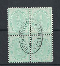 1907 Australia postage due 1/2d SG 45w inverted wmk block four nice CDS