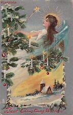Postcard Best Christmas Wishes Angel Tree + Lights 1908
