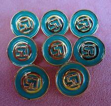 "Lot of 8 St. John Logo Buttons Gold Metallic Teal Green Enamel 3/4"""