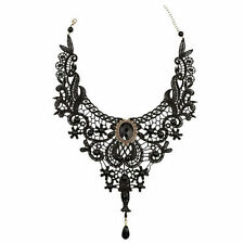 Gothic Victorian Lace Choker Necklace Metal Cameo Jewel Steampunk Cosplay Gift