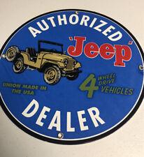 New ListingVintage Porcelain Jeep Dealer Gas And Oil Sign 51