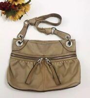 B. MAKOWSKY Womens Tan Genuine Leather Shoulder Bag Purse Silver Hardware