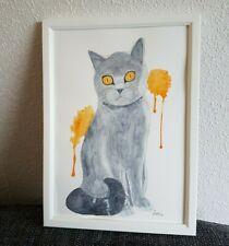 British Blue Shorthair cat watercolour painting, original art