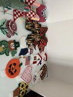Vtg Handmade Plastic Canvas Christmas Ornaments Coasters Santa Snowman Bows