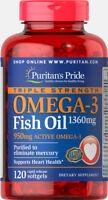 Triple Strength Omega-3 Fish Oil 1360 mg (950 mg Active Omega-3)-120 Softgels