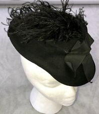 Vintage 30s - 40s Black Ostrich Feather Tilt Hat by Andrea Fashions New York