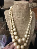 Necklace 2 Multi Strand Gold Beads Pearled Ivory Graduated Beaded Collar Vintage