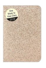 2018 Small Pocket Week To view Diary - Glitter Sparkle - Rose Gold