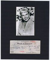 1948 DORIS DAY Early Hand Signed Cancelled Bank Cheque / Check Mounted Display