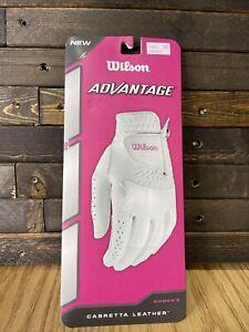 Woman's Wilson Advantage Medium Left Hand Golf Glove Cabretta Leather New In Box