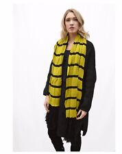 Black and yellow soft touch knitted scarf with striped and fringe