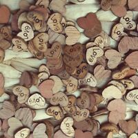 100x Wooden Hearts Love Buttons Wedding Table Craft Scrapbook Scatter Decor-AU