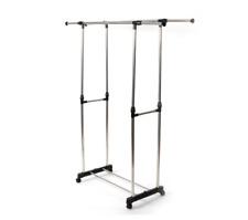 Hanger Rolling Heavy Duty Adjustable Clothes Rail Garment Rack Shoe Shelf Holder