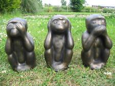 THREE WISE MONKEYS GARDEN ORNAMENTS - HEAVY STONE