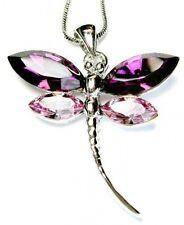 w Swarovski Crystal Bridal Bridesmaid Wedding ~Purple DRAGONFLY Pendant Necklace