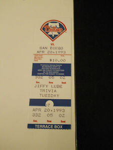 1993 Philadelphia Phillies vs. San Diego Padres Ticket Stub (SKU1)