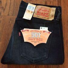 Levi's Men's New 501 32X34 Black Jeans Original Fit Straight Leg Button Fly-2167