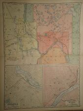 New ListingVintage 1898 St Paul Minneapolis Map Old Antique Original Atlas Map 27x21 50715