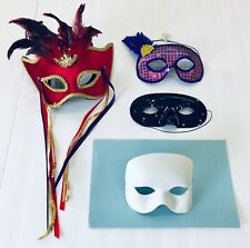 Masquerade Masks Purple Sequin, White, Black & Mardi Gras Feathered / Lot of 4