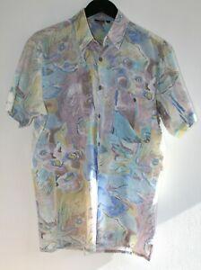 "Vintage 80's Abstract Floral Print Cuban Tailored Hawaiian Shirt Mauve Blue 40"""