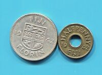 FIJI - TWO HISTORICAL RARE 1942 S GEORGE VI COINS:HALF PENNY & SILVER FLORIN