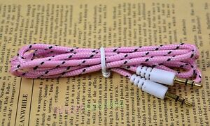 3FT 3.5mm Stereo Male to Male MM Audio Aux Braided Cord Cable for PC Phone Mp3