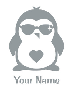 CUSTOM PERSONALIZED: Penguin with Shades #1 - 1031P - Sticker / Decal / Stencil